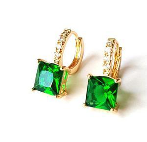 Aretes De Oro Y Cristal Austriaco Verde Envio Gratis!!!