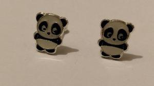 Aretes De Oso Panda De Plata Con Estuche Y Envio Gratis