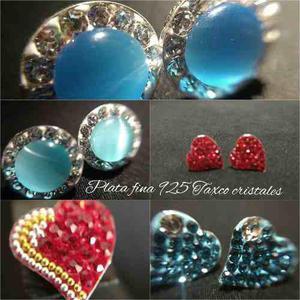 Aretes De Plata Fina 925 Con Cristales Corazon Varios Modelo