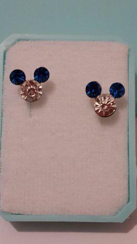 Aretes De Plata Micky Cristal Azul Con Blanco Con Estuche