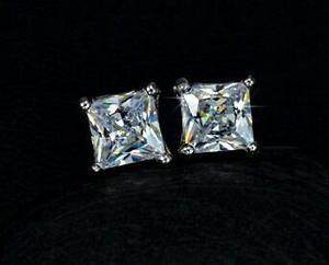 Aretes De Zirconia- Diamante Platino 18k Lam. De Moda.