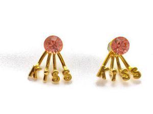 Aretes Del Amor En Oro Lam. Y Cristal Austriaco De Perno