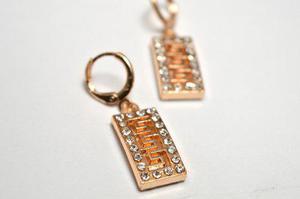 Aretes Diseño Versace Con Zirconias Oro Laminado Envio