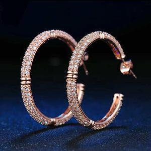 Aretes En Oro Rosa 18 K Con Cristales Corte Diamante Mujer