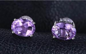 Aretes En Plata Ley 925 Con Amatista Natural Purpura