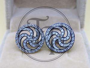Aretes Espiral En Titanio Punto De Swarovski