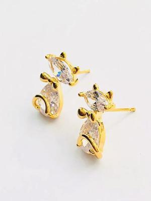 Aretes Gato Zirconias Diamante Oro 18k Lam
