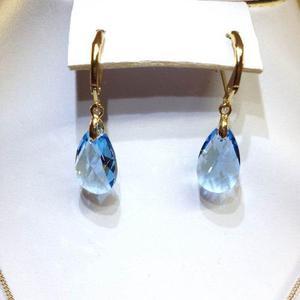 Aretes Gota Cristal Swarovsky Azul C/ Chapa De Oro