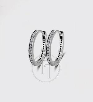 Aretes Huggies Plata Esterlina 925 Zirconias Corte Diamante