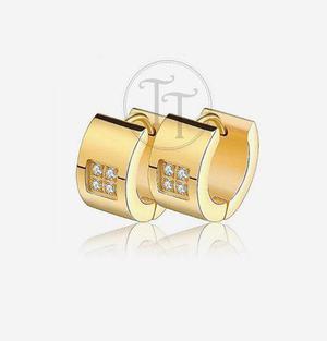 Aretes Huggies Titanio 18k Zirconias Corte Diamante Gold Pla