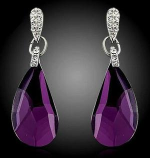 Aretes Largos Fiesta Cristal Swarovski Elements Deep Purple