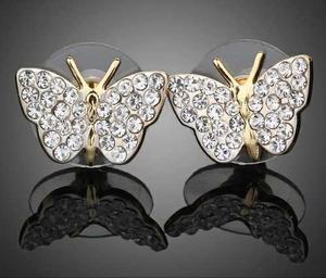 Aretes Mariposa Cristal Swarovski Certificado, Oro 18kgp
