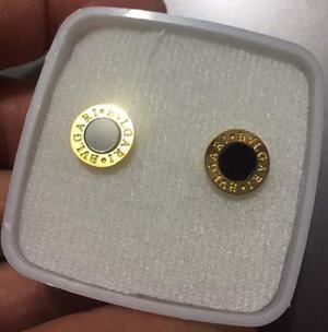 Aretes Mini Chapa Oro 10k Con Onix B V L G A R I Envio Grati