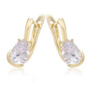 Aretes Oro 14k Lam Con Zirconia Calidad Diamante