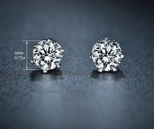 Aretes Oro Blanco Laminado 18k Diamante Cz 0.75ct Top