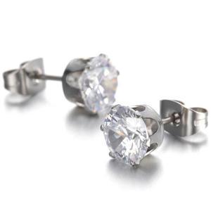 Aretes Oro Blanco Laminado 18kgp Diamante Ruso Mujer