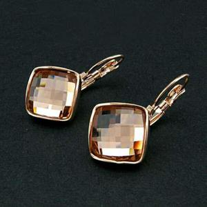 Aretes Oro Rosa Cristal Swarovski Premium Envio Gratis