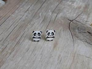 Aretes Panda Plata925 1cm De Alto