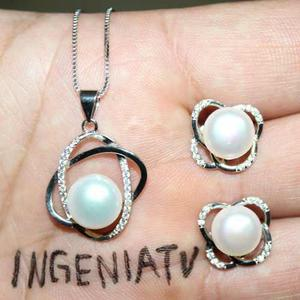 Aretes Y Collar Perlas Naturales Alta Calidad Plata Esterli