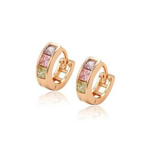 Arracadas De Oro 14k Lam Con Zirconias Calidad Diamante
