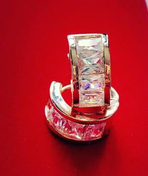 Arracadas De Oro Láminado Y Cristal Swarovski Elements.