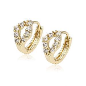 Arracadas Rombo De Oro 14k Con Zirconias Calidad Diamante