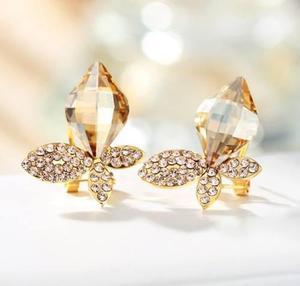 Bellos Aretes Cristal Swarovski Elements Oro Lam 18k Regalo