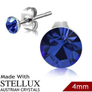 Broqueles De Acero Y Cristal Austriaco 4mm Azul Capri
