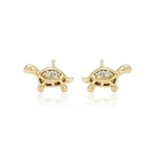 Broqueles Tortuga De Oro Con Zirconias Calidad Diamante