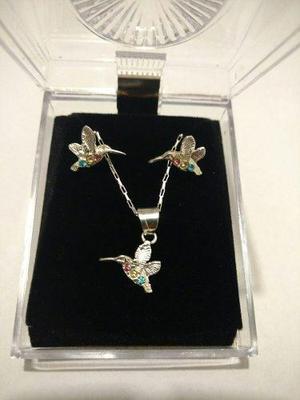 Collar De Colibri Cristal Swarovski Y Aretes De Plata Origin