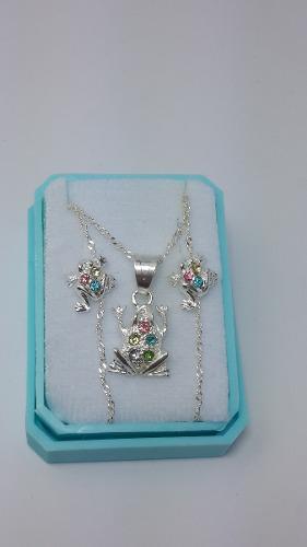 Collar De Rana Cristal Swarovski Y Aretes De Plata Original