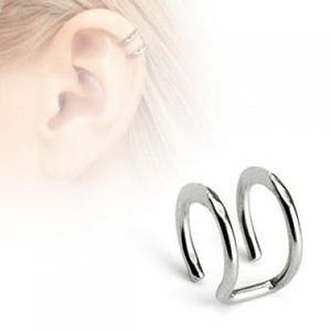 Ear Cuff Falso De Acero Inox Plata Diseño Conciencia Doble