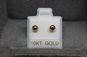 Envió Gratis ! Broquel Arete Oro 10k Dormilona Oro Rosa 4mm