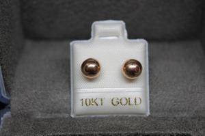 Envió Gratis ! Broquel Arete Oro 10k Dormilona Oro Rosa 6mm