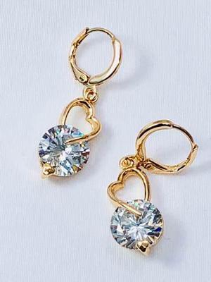 Finos Aretes Oro 18k Laminado Y Zirconias Tipo Diamante.