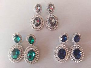 Hermosos Aretes Elegantes Azul Marino Verde Antimonio Envio