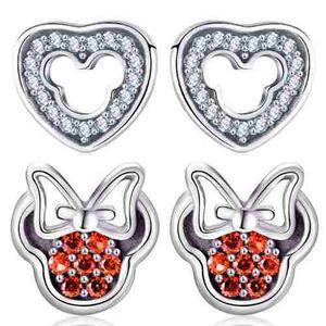 Regalo Aretes Corazón Amor Mickey Minnie Mouse Swarovski