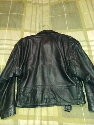 Chamarra de piel gruesa para motociclista talla L