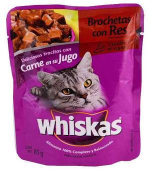 Alimento Para Gato Whiskas Brochetas Con Res 85 Gr