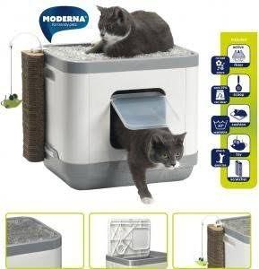 Arenero Para Gato Con Colchón, Rascador Y Juguete