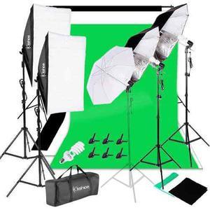 Kit Fotográfico Softbox Telon De Fondo Estudio Iluminación