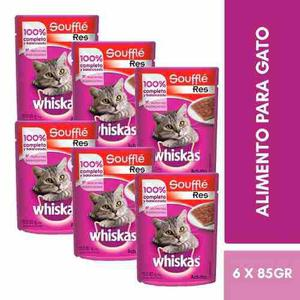 Kit Whiskas Alimento Gato Adulto Filetes Carne De Res 85g