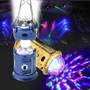 Linterna Solar Recargable De Campismo Con Luz Disco Colores