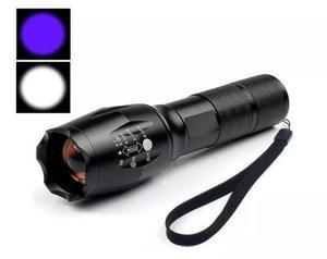 Lámpara Táctica T6 + Q5 2 En1 3000 Lumen Luz Blanca Y Azul