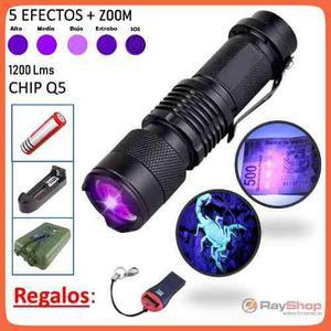 Mini Lámpara Táctica Luz Led Uv Zoom 1200 Lumens Dt166