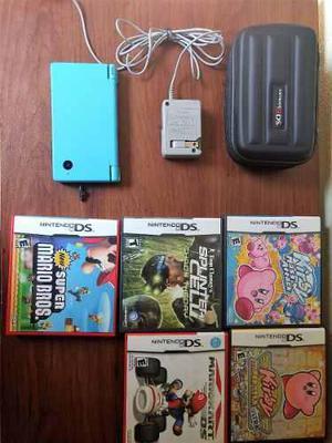 Nintendo Dsi Azul Celeste + Estuche Protector + 6 Juegos