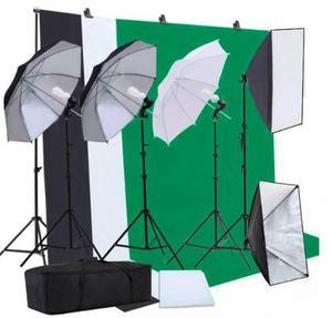 Oferta!! Kit Estudio Fotográfico Softbox Sombrillas Fondos