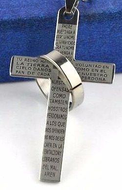 12 Llaveros Cruz Anillo Redondo Padre Nuestro Grabado Acero
