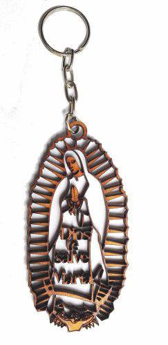 25 Llaveros Virgen De Guadalupe Recuerdo Bautizo Madera Cruz