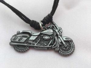 Cuero Dije Collar Moto Metal Harley Davidson Motocicleta Bik